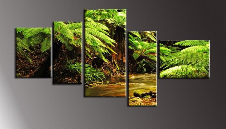 Obraz na stěnu kapradí a potok
