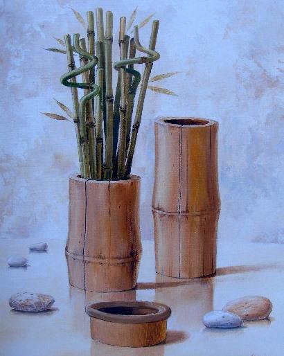 Obraz bambusů a vázy