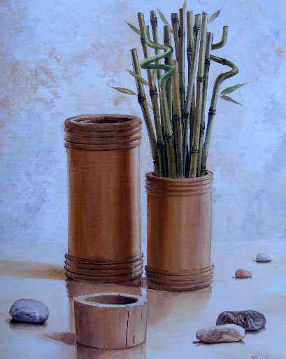 Obraz vázy a bambusů