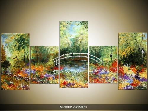 Ručně malovaný obraz krajiny s mostem