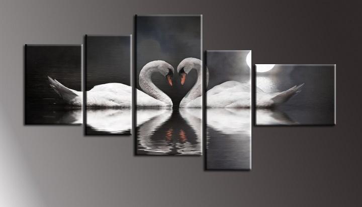 Černobílý obraz do bytu labutě