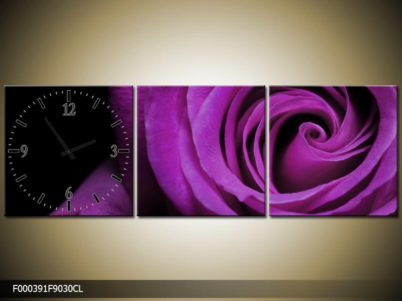 Obraz s hodinami fialová růže