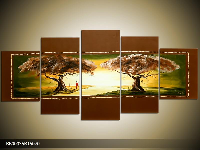 Ručně malovaný obraz krajiny se stromy
