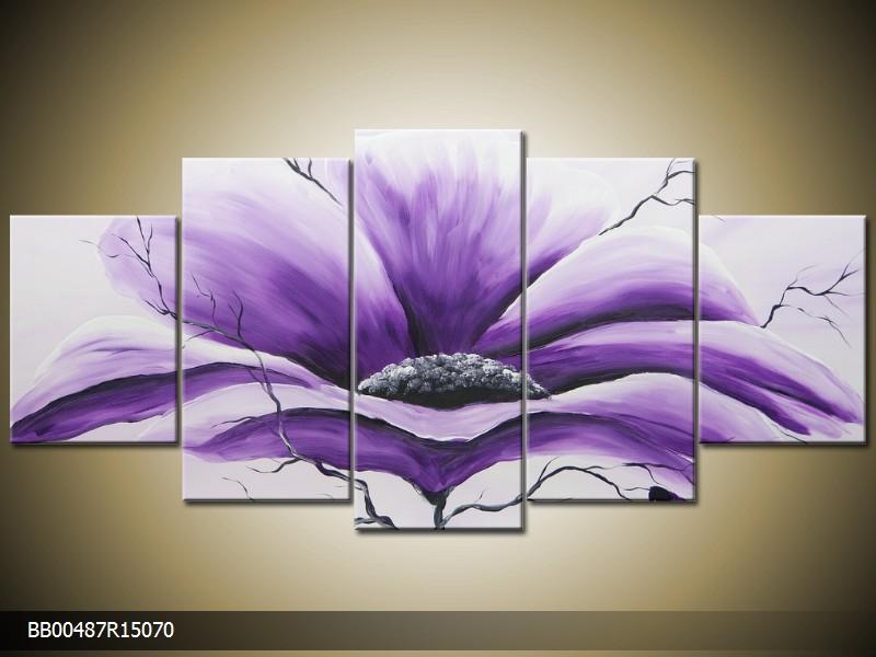 Ručně malovaný obraz fialový květ