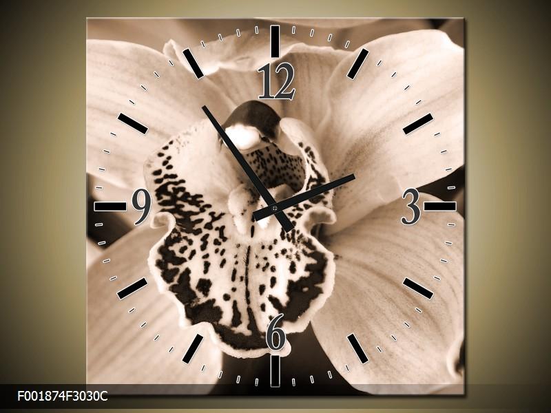 Černobílý obraz s hodinami orchidej