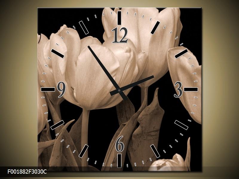 Černobílý obraz s hodinami tulipány