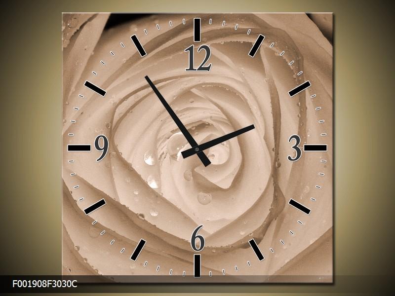 Černobílý obraz s hodinami květ růže